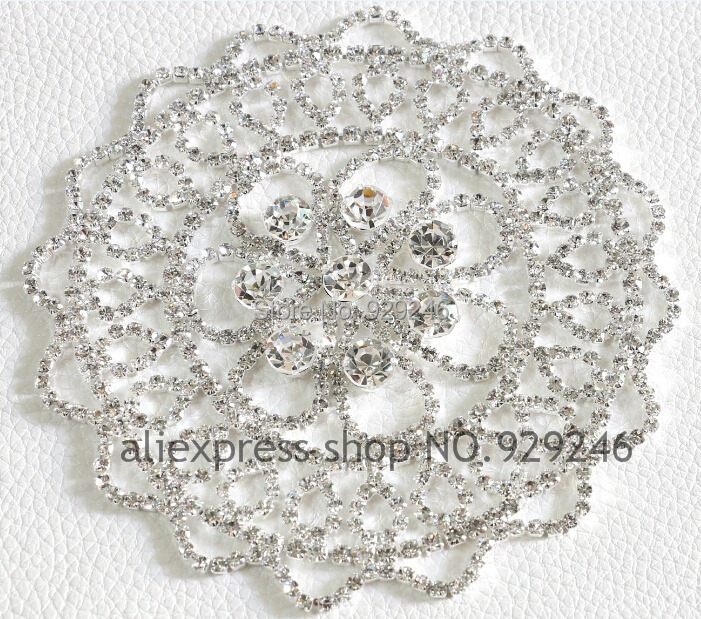 wholesale 10.5cm round flower clear crystal rhinestone applique silver flatback fur coat snow boots bridal hair decoration