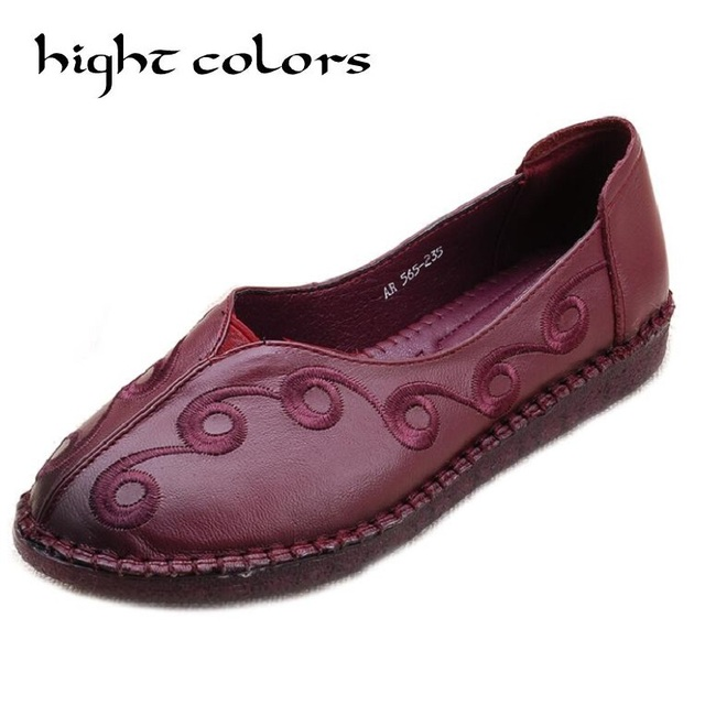 New Retro National Wind Comfortable Women's Handmade Flat Shoes Casual Fashion Women Shoes Genuine Leather Loafers