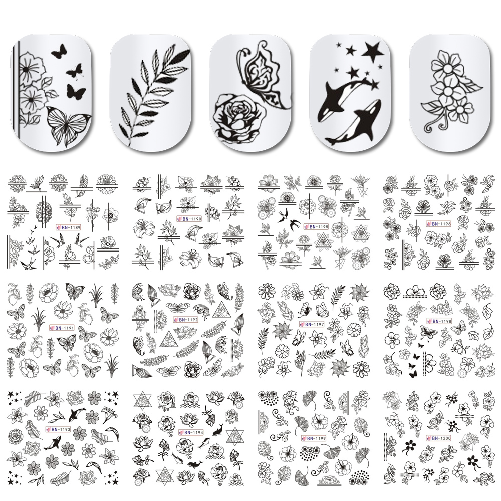 12pcs Black Floral Butterfly Water Nail Stickers Hollow Design Nail Art Decal Water Transfer Slider Decor Manicure JIBN1189 1200-in Stickers & Decals from Beauty & Health