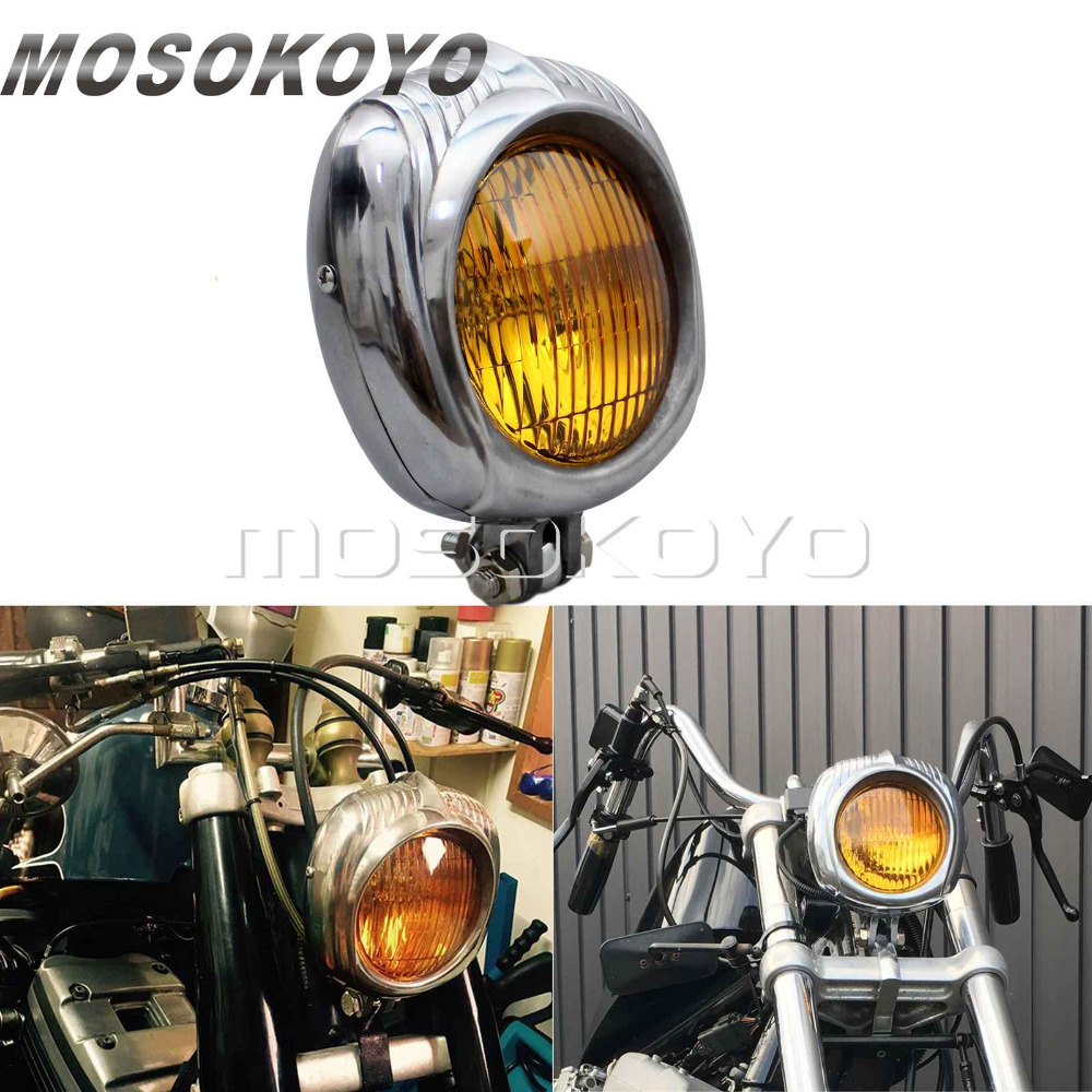 "4/"" Electroline Black Yellow Aluminum Headlight Harley XS 650 Tri Bobber Chopper"
