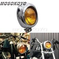 Polished Amber Motorcycle Retro Cafe Racer 4.5 Headlight Vintage Sealed Beam for Harley Custom Softail Scrambler Chopper