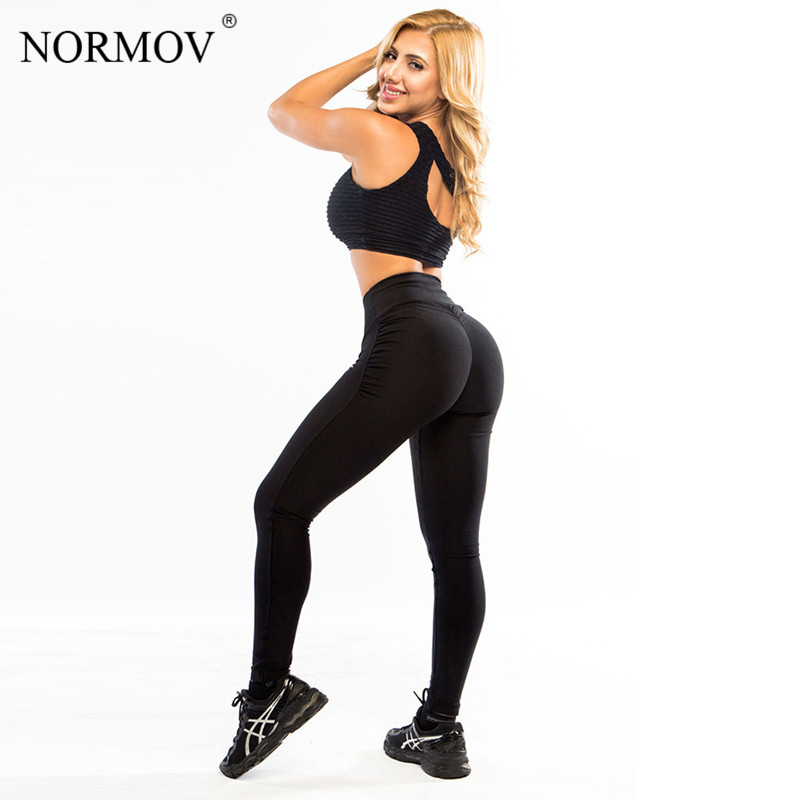 NORMOV   Leggings   Women Push Up Polyester Fitness   Legging   Large Size Black Slim Jeggings High Waist   Leggings   Trousers Women S-XL