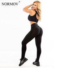 NORMOV Leggings Women Push Up Polyester Fitness Legging Large Size Black Slim Jeggings High Waist Leggings Trousers Women S-XL