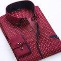 2017 осенью новый мужской рубашки Печати с длинным рукавом рубашки вскользь платья мужчины Волновой точки рубашка на пуговицах бизнес Camisa Masculina
