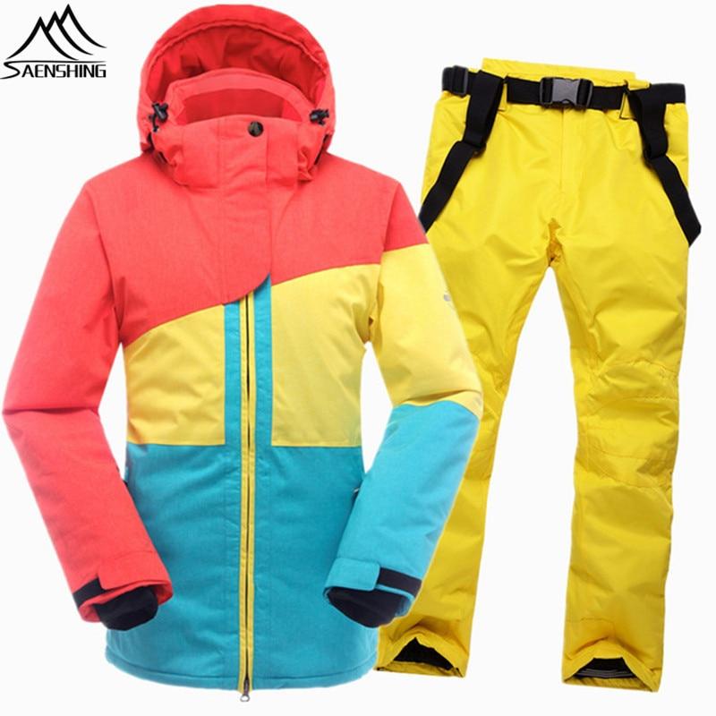 SAENSHING Warm Ski Suit Women Winter Ski Jacket Snowboarding Suits Waterproof 10K Breathable Snow Outdoor Mountain Skiing Set все цены
