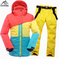 SAENSHING Warm Ski Suit Women Winter Ski Jacket Snowboarding Suits Waterproof 10K Breathable Snow Outdoor Mountain Skiing Set