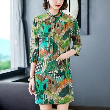 58d158450b3c Vestido De seda De las mujeres 2019 nueva moda Primavera Verano impreso pequeños  Collar SEDA Natural