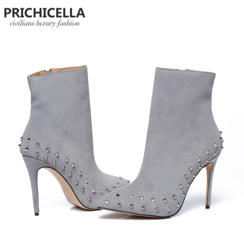 5d1bb1b4dae PRICHICELLA genuine leather grey suede pointed toe studded 10cm thin heels  ankle boots size34-42