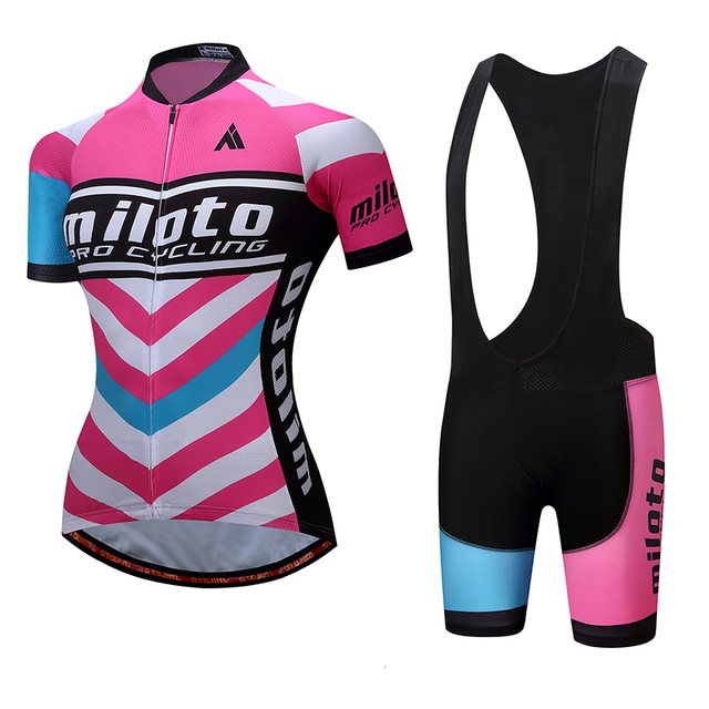 2d6917d34 MILOTO Women Girl s Cycling Jersey Set Bike Bicycle Clothing Quick-Dry  Riding Sport Wear Pink Blue Summer Bib Shorts Gel Pad