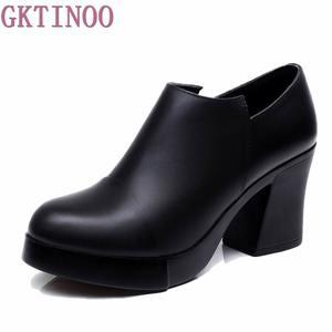Image 2 - Zapatos de tacón alto grueso para mujer, zapatos de piel auténtica de primera capa de piel de vaca, con plataforma, para primavera y otoño, 2020