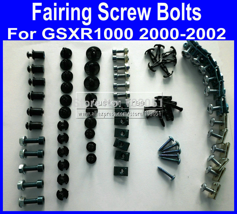 Motorcycle Fairing common screw bolts for 2000 2001 2002 SUZUKI GSXR 1000 K2 GSXR1000  00 01 02 black fairings bolt screws