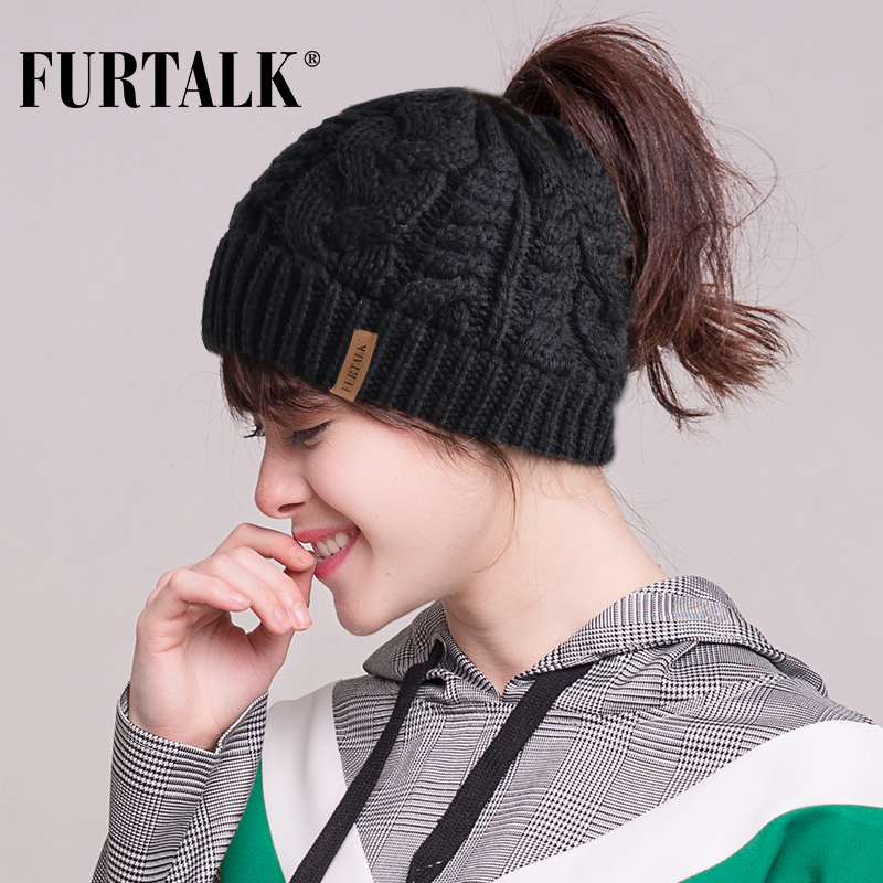 FURTALK Women Ponytail Hat   Beanie   Messy Bun Knit   Beanie   Hat for Girls   Skullies     Beanies   Caps Female Knit Warm Stylish Hat AD014