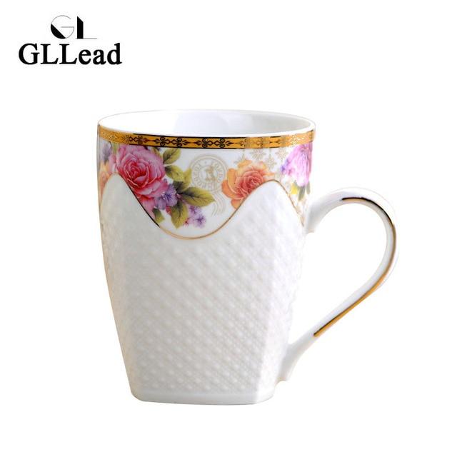 Gllead Simple Flower Color Ceramic Tea Mug Hand Carving Weaving Lines Creative Teacup Porcelain Coffee Milk