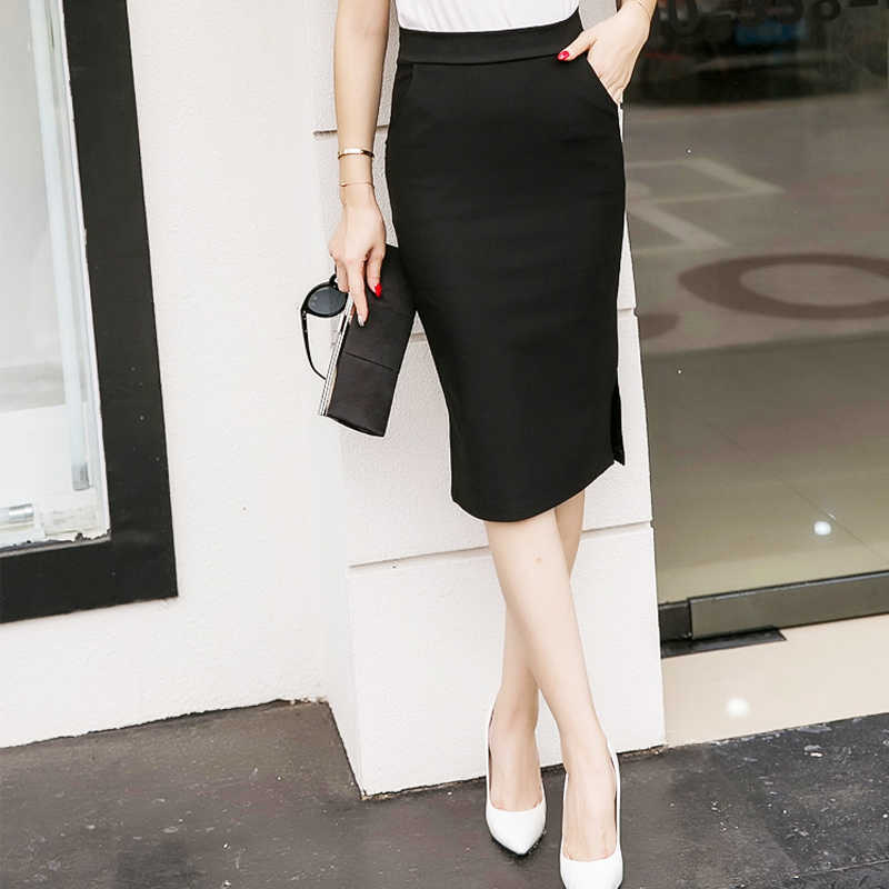 9d7eaafd61 ... Elegant High Waist Pencil Skirts Women Plus Size Bodycon Open Slit  Ladies Office Skirt Casual Ol