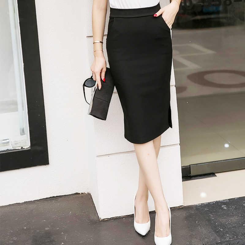 229c8806f5c ... Elegant High Waist Pencil Skirts Women Plus Size Bodycon Open Slit  Ladies Office Skirt Casual Ol