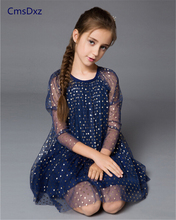 Baby girl dress high quality baby children clothing 3 color gauze elegant prttey dress for 2-10 years old girls kids clothes
