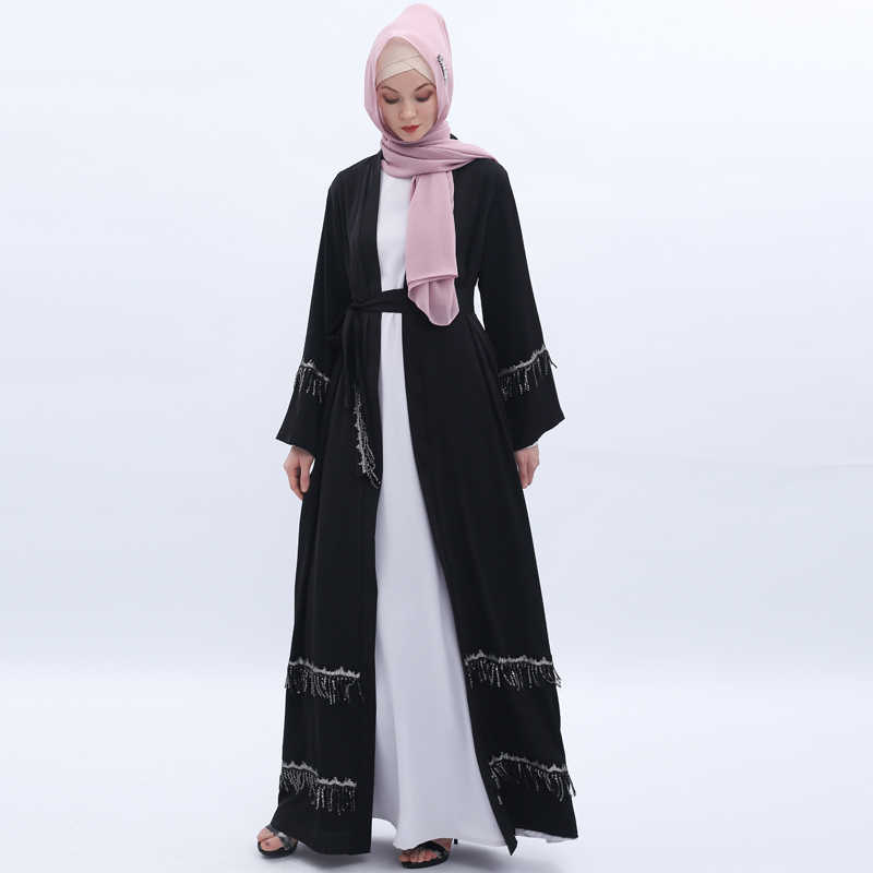 С блестками и с бахромой, с открытым Абаи кимоно, кардиган, Дубайский мусульманский хиджаб мусульманское платье Турция восточный женский халат для Для женщин Кафтан Исламская одежда Robe Femme