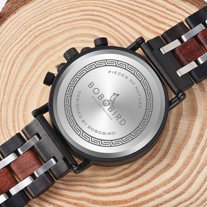 Image 5 - レロジオmasculinoボボ鳥の木製腕時計メンズトップブランドの高級スタイリッシュなクロノグラフ軍事腕時計木製ボックスリロイhombre