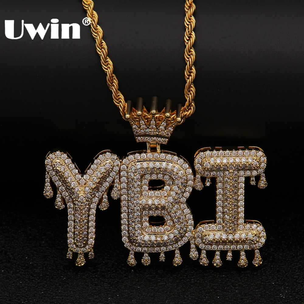 Uwin Crown Initial Letter Pendant Necklace Customzie Bubble Initial Letters Gold Silver Rose Gold Color Words Name OEM LINK
