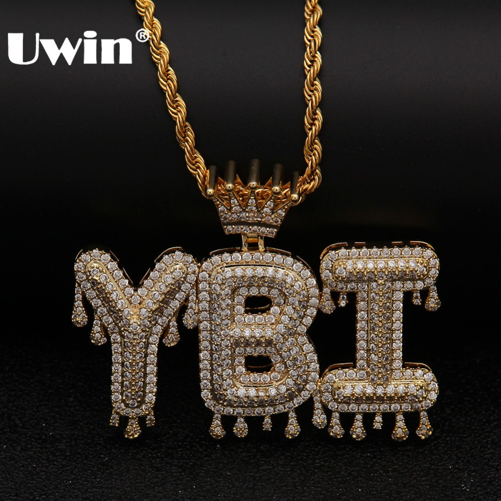 Uwin Crowned Drip Letter Pendant Necklace Customzie Bubble Letter Combination Gold Silver Rose Gold Color Words Name OEM LINK double ring letter link chain pendant necklace