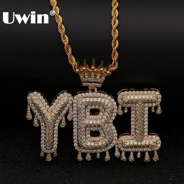 Uwin korona początkowa litera naszyjnik Customzie Bubble początkowe litery złoto srebro różowe złoto kolor słowa nazwa OEM LINK