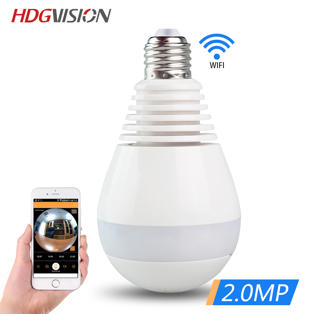 HDGVISION Bulb Light Wireless IP Camera Panoramic Wireless IP Camera Mini CCTV 3D VR Cam ...