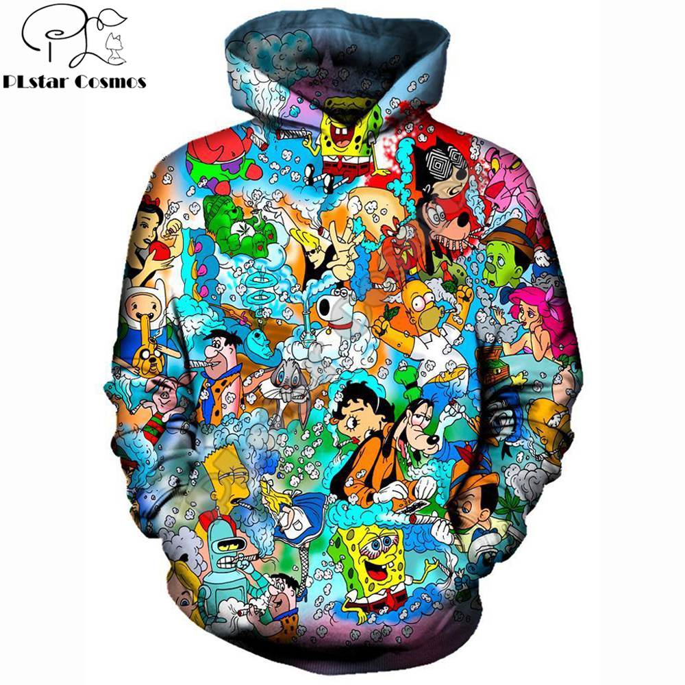 Drop Shipping 2019 New Fashion Hoodie Stoned Toons 90s Cartoon Collage Printed 3d Unisex Streetwear Sweatshirt/Hooded Jacket