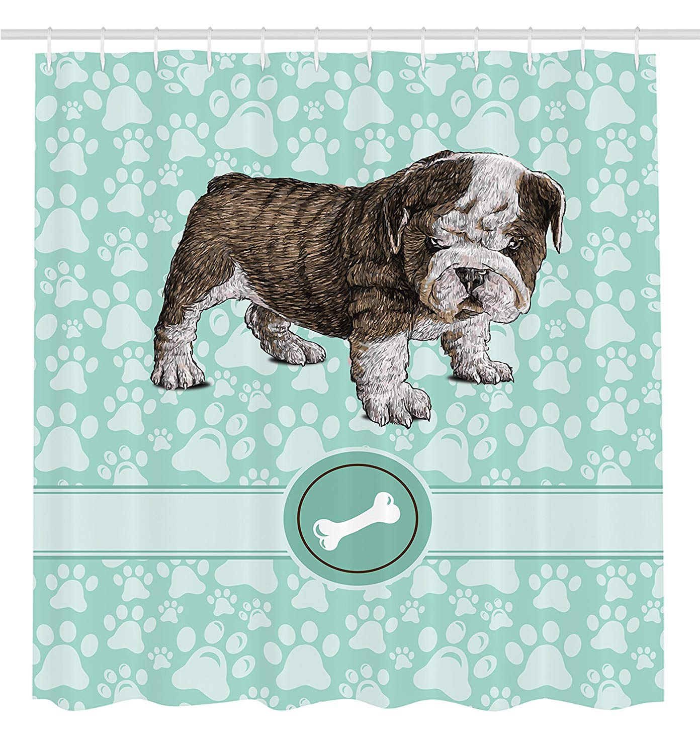 Dog Shower Curtain Animal Bulldog Apartment Adorable Purebred Cute Furry English Puppy Doggy Friendly Pet Owner Art Prints Dogs image
