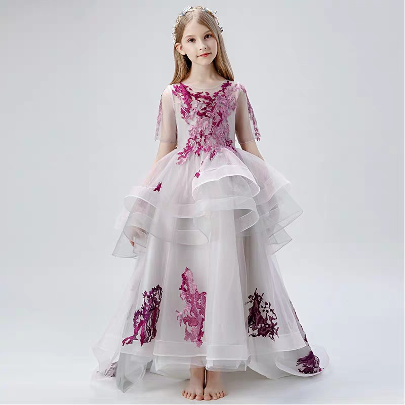 3~15Years Children Girls Luxury New Good Quality Evening Birthday Party Long Tail Dress Model Show Performance Costume Dresses3~15Years Children Girls Luxury New Good Quality Evening Birthday Party Long Tail Dress Model Show Performance Costume Dresses