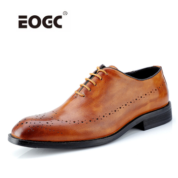 High Quality Genuine Leather Dress Men Shoes Lace Up Italy Retro Business Wedding Formal Flats Oxfords Shoes For Men цена 2017