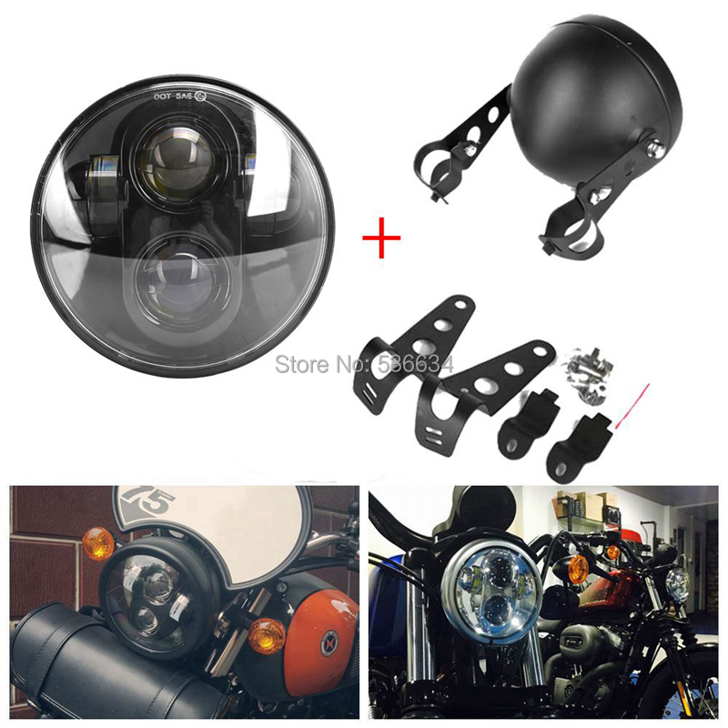 5 75 Inch Black Chrome Waterproof Projector Durable LED Headlight Mounting Bracket for Motorcycle Dyna Wide