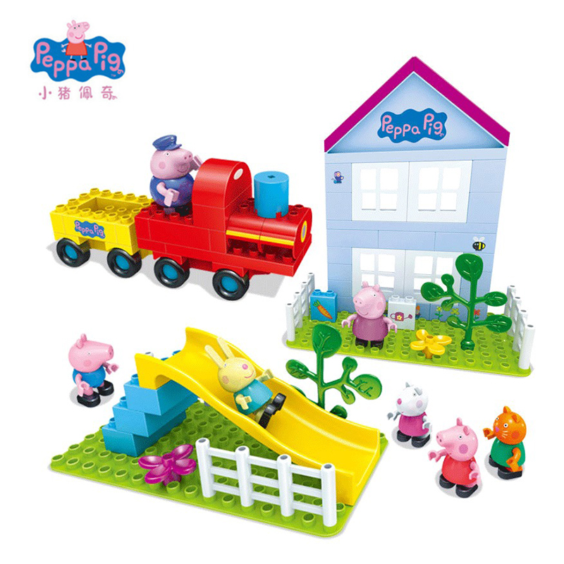 Peppa Pig Friend Toys Doll Scene Train Playground Garden Big Building Blocks Toys DIY Assembly Christmas Toys Gift For Kids