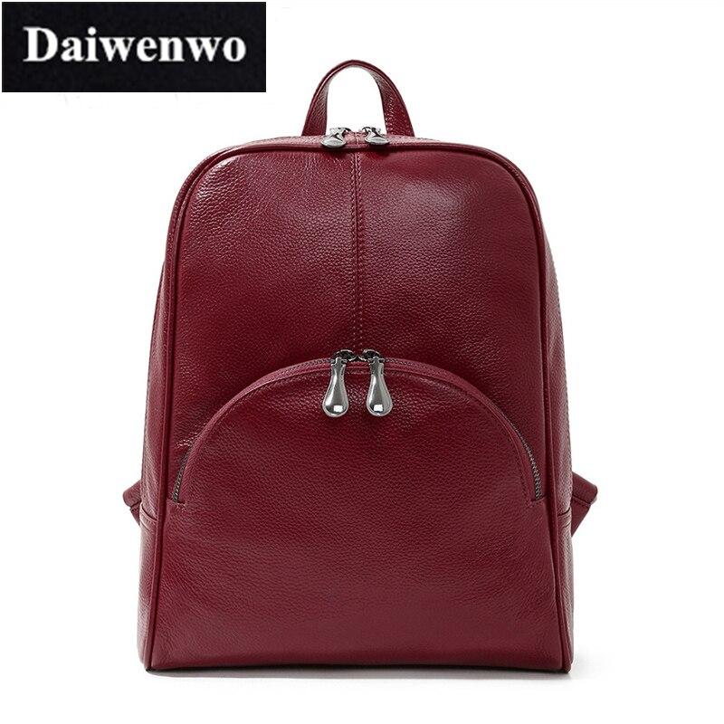M84 Daiwenwo 2017 New Female Genuine Leather Backpack for Women Double Zpper Girls School Bag Laptop Backpack Soft Leather бытовая химия daiwenwo 2 i346