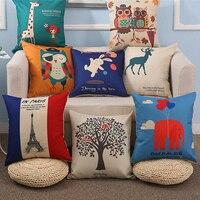 Variety Beauty Printed Cotton Linen Sofa Cushion Cover 45x45cm/17.7x17.7'' Throw Decorative Home Wedding Car Seat PillowCase