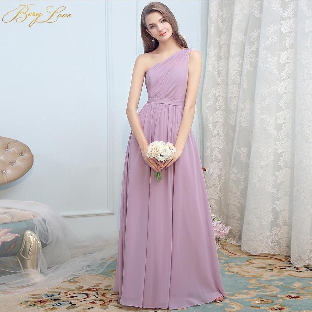 BeryLove Blush One Shoulder Evening Dress 2019 Pink Long Prom Dress Chiffon Formal Zipper Floor Length