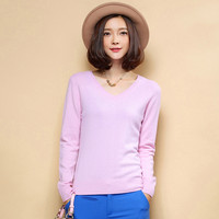 Pure Colors 2016 European Style V Neck Pullover Sweater Women Fashion Outwear Base Knitted Cashmere Sweater