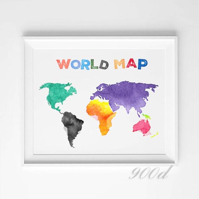 Aliexpress.com : Buy Colorful Cartoon World Map Spring Rain Art ...