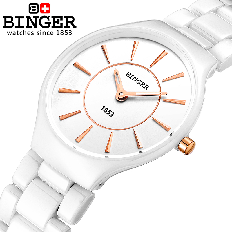 Switzerland Binger ceramic quartz Women's watches fashion lovers style luxury brand Wristwatches 300M Water Resistance B8006-5 все цены