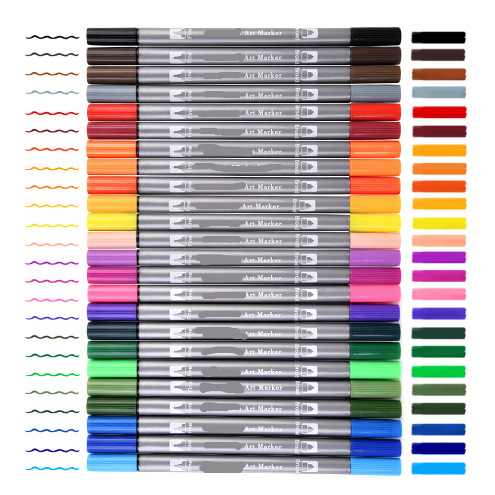 все цены на 24 Color Premium Painting Soft Brush Pen Set Watercolor Markers Pen Effect Best For Coloring Books Manga Comic Calligraphy онлайн