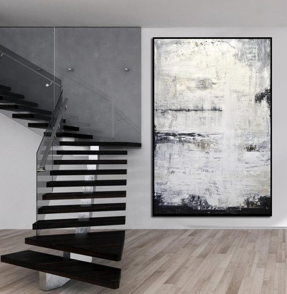 Abstract Painting Contemporary Art Oil Painting Large sizes Gray Vertical Textured Design Artwork Sky Whitman free shipping