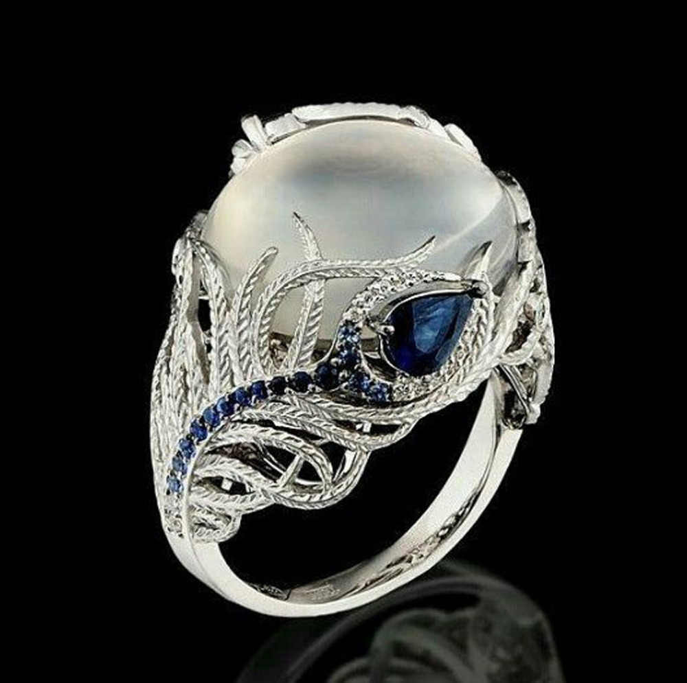 Unique Floral Ring Moonstone Treasure Blue Simulated Aneis Wedding Band Rings Pendant Fine Jewelry Accessories Ornaments Anel