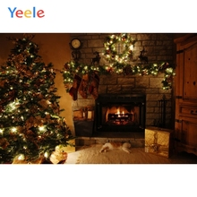 Yeele Merry Christmas Photography Backgrounds Tree Cat Gift Fire Fireplace Custom Vinyl Photographic Backdrop For Photo Studio