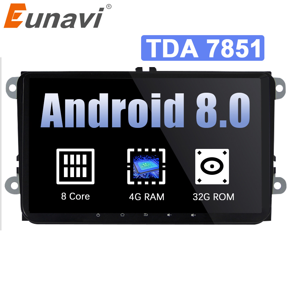 Eunavi 2 din 9 ''Android 8.0 Octa 8 Core Voiture Radio Stéréo GPS pour VW Passat B6 CC Polo GOLF 5 6 Touran Jetta Tiguan Magotan Siège