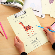 EZONE A4 Animals File Folder Straight Plywood Signed Clipboard Kawaii Wooden WordPad Vertical Writing Board Students Stationery