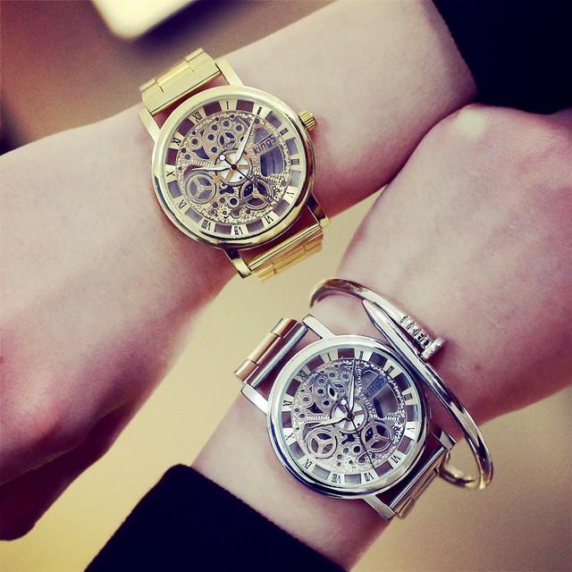 2017 New Brand Luxury Fashion Casual Stainless Steel Men Skeleton Watch Women Dr