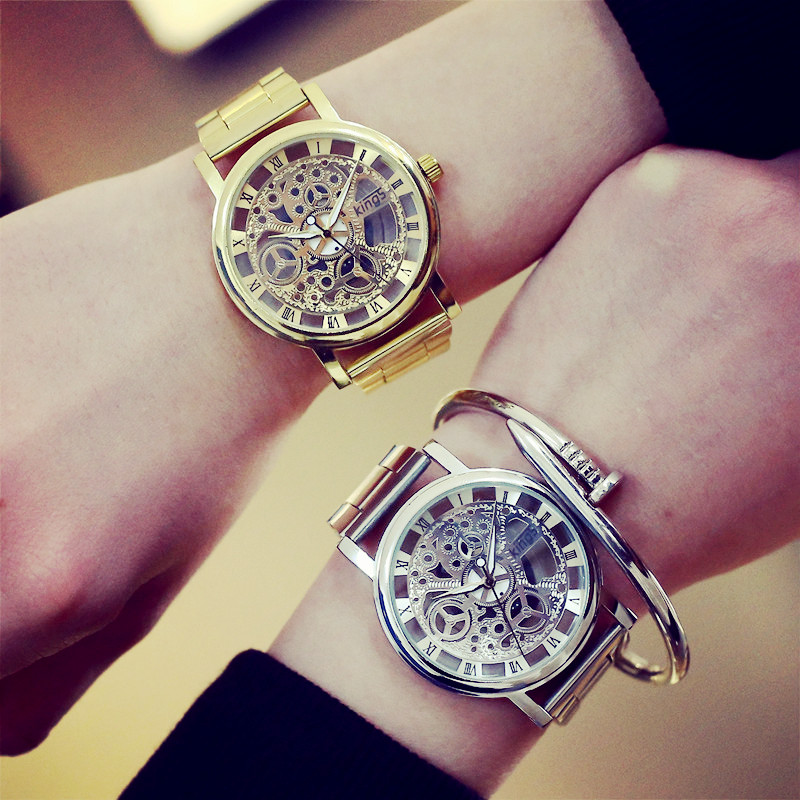 2019 New Brand Luxury Fashion Casual Stainless Steel Men Skeleton Watch Women Dress Wristwatch Steel Quartz Hollow Watches Men