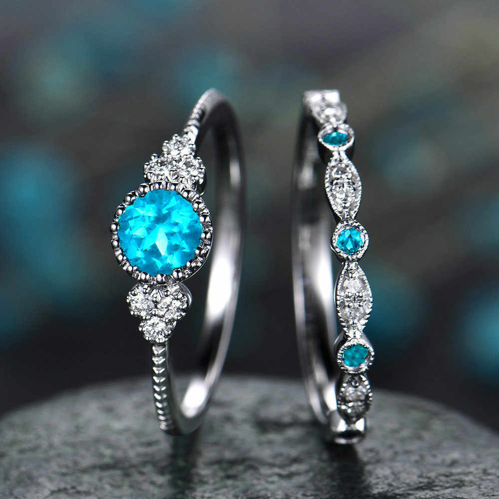 Classic 2 Pieces Thin Blue Stone Zirconia Ring for Women Stainless Steel Rings Crystal Party Boho Beach Jewelry