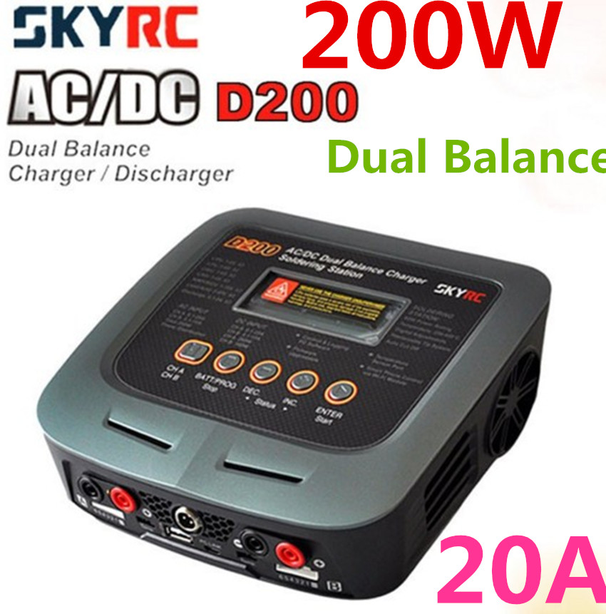 SkyRC D200 200W*2 AC/DC Dual Balance Charger 20A Charge 5A Discharge NiMH/LiPo Battery Twin Channel Charger with Soldering Iron skyrc d100 2 100w ac dc dual balance charger 10a charge 5a discharge nimh lipo battery charger twin channel charge
