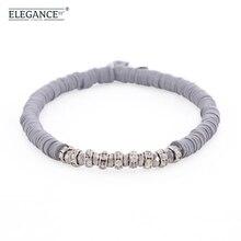 Elegance Gray Beaded Bracelet Polymer Clay Beads Rhinestone Charming Bracelets for Women Vintage Jewelry Wholesale charming rhinestone leaf cross bracelet