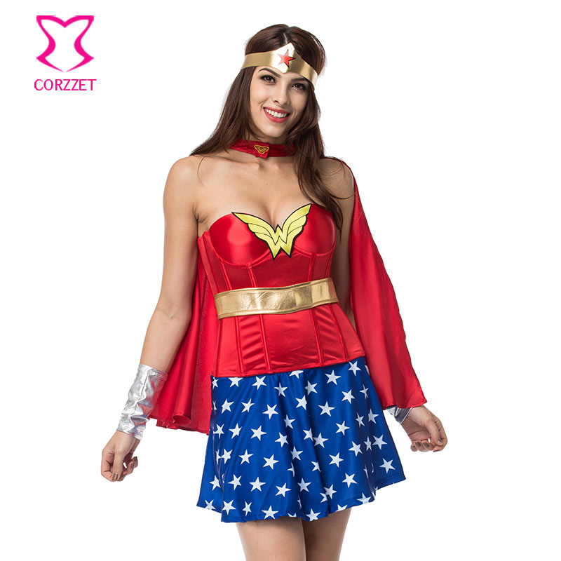 Burlesque Superhero Supergirl Halloween Corset Dress With Cape Cosplay Wonder Woman Costume Sexy Costumes for Adults Carnaval